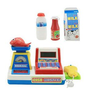 Liberty Imports Mini Supermarket Cash Register with Checkout Scanner, Weight Scale, Calculator, Play Money and Food Shopping Playset for kids (Cash Register Scale compare prices)