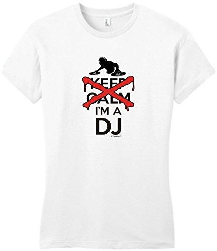 I Can't Keep Calm I'm a DJ Disc Jockey Mixer Juniors T-Shirt Large White