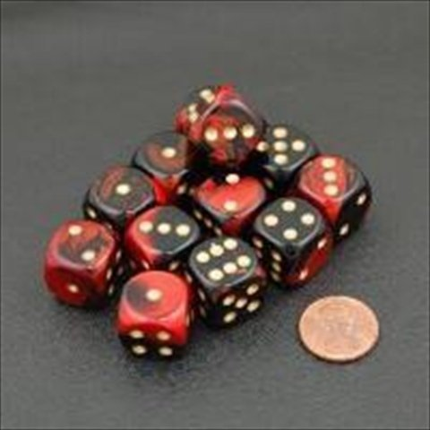 Chessex Manufacturing 26633 D6 Cube Gemini Set Of 12 Dice, 16 mm - Black & Red With Gold Numbering - 1