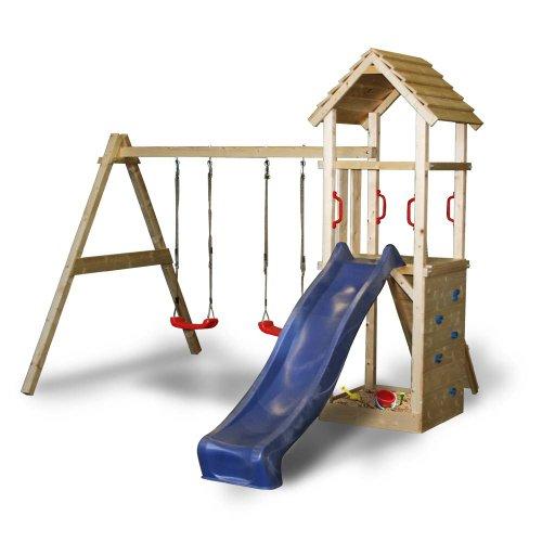 Spielturm Kletterturm mit Rutsche 2 Schaukeln + komplettem Zubehör