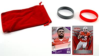 Ezekiel Elliott Football Cards & Wristbands Gift Set - (2) Ohio State Buckeyes Assorted Trading Cards, Dallas Cowboys NFL Rookie Draft Pick #15
