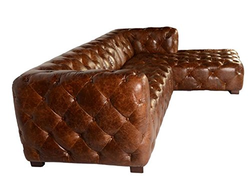 Sectional Sofa with Chaise in Vintage Brown Chesterfield Modern Styled By Lazzaro Leather Manhatton Collection 1