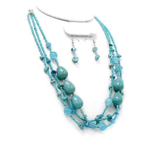 2037a 01 Bead Stone Silver Plated Turquoise Necklace Earring Set