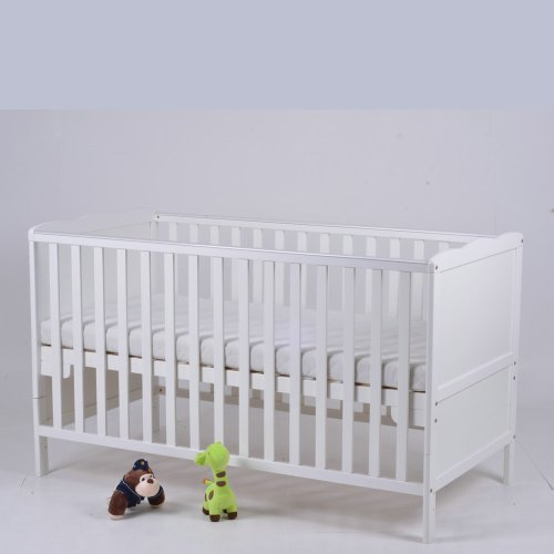 Classic Baby Cot Bed & Junior Bed With Free Foam Mattress And Teething Rails (White)