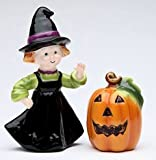 Cosmos Gifts Halloween Pumpkin & Witch Salt and Pepper Set, 2-1/4-Inch