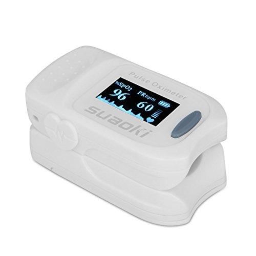 Suaoki Saturimetro Dito Pulsossimetro con schermo OLED e Batterie per Bambini e Adulti