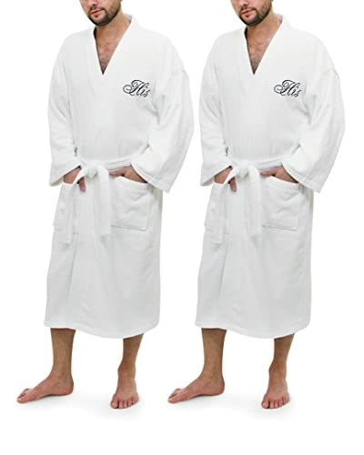 "Luxor Linens ""His"" & ""His"" Script Egyptian Cotton Turkish Terry Robe Set"