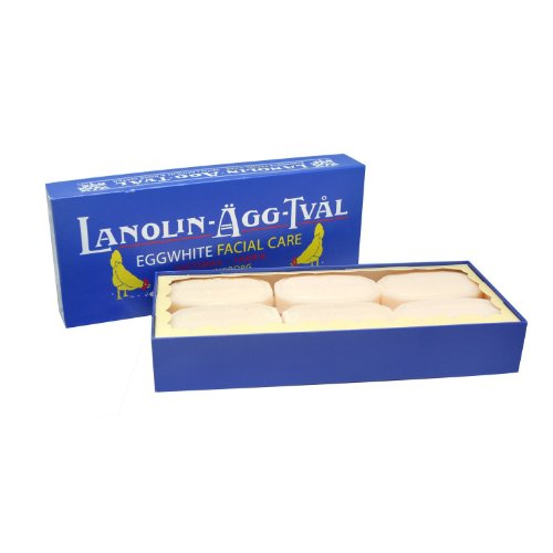 Lanolin-Agg-Tval Swedish Eggwhite Soap - 1 Box of 6 bars