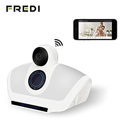 FREDI 3in1 Indoor WiFi Hidden Spy Camera +Bluetooth Speaker+Color LED lights with Motion Detect Infrared Night Vision 2-way audio 720P Security Camera for iOS or Android Phone from Jinbaixun Technology
