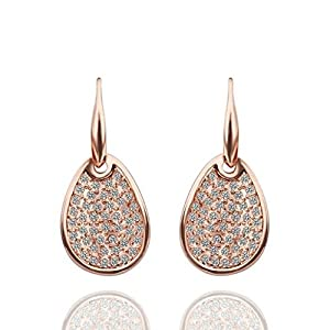 18K Rose Gold Drop Earrings Fishhook Water Drop Cluster Cubic Zirconia Eco Friendly - Adisaer