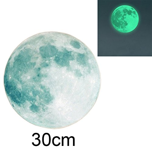 "Jreameast 30cm 12"" Moon Sticker Moonlight Glow In The Dark Moon Wall Sticker"
