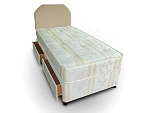 Divan bed luxury 3ft single including mattress for Single divan bed with storage drawers