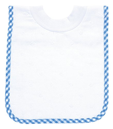 AM PM Kids! Pullover Bib, White Dot with Blue Gingham Bias
