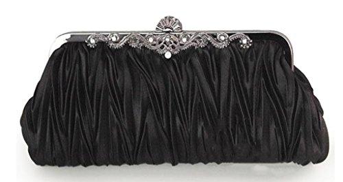 (CLT-02-BB) Zakka Republic Vintage Satin Pleated Evening Cocktail Wedding Handbag Clutch w/ Shoulder Chain (Black) (Vintage Clutch compare prices)