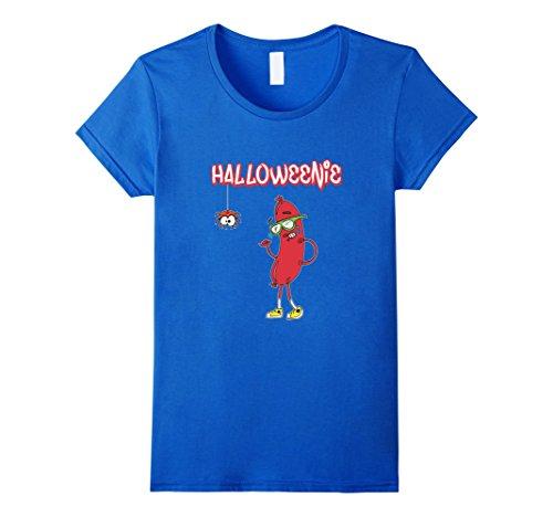[Women's Halloweenie Funny Spider Hot Dog Weiner Cute Costume T-Shirt Medium Royal Blue] (Funny Weiner Dog Costumes)