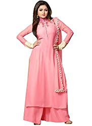 Jenny Fashion Pink Faux Georgette Semi Stitched Dress Material