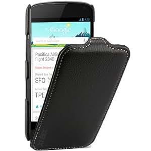 xubix Ledertasche LG Google Nexus 4 Flip case Tasche Leder Schutzhülle Hülle - maßgefertigt - Flipcase in schwarz