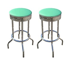 2 Turquoise Vinyl 29 39 39 Specialty Chrome Barstools Bar Stools