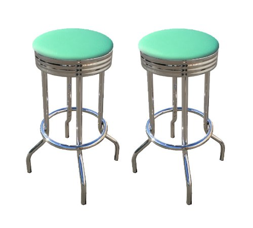 2 Turquoise Vinyl 29'' Specialty Chrome Barstools