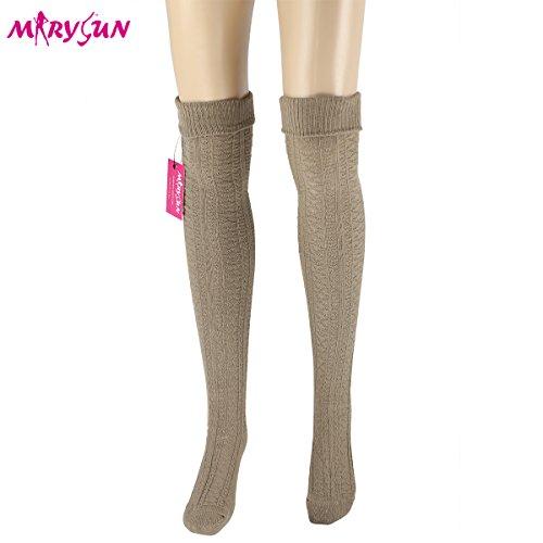 Women Girls Thigh High Socks Winter Over Knee Leg Warmer - Knit Crochet Socks (Thigh Socks For Women)