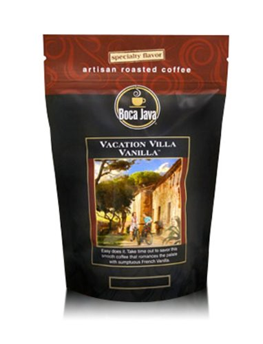 Boca Java Roast to Order, Vacation Villa Vanilla, Whole Bean, Flavored Direct Trade Coffee, 8 oz. bags (Pack of 2)