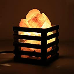 Himalayan Salt Lamps Random Broken Pieces Salt Rocks Lights - Vintage Wood Basket Dimmable Switch (Black)