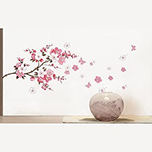 Qianxing removable cycle-usable flower and tree theme wallpaper wall sticker leisure style beautiful scenery Wall Decal for house home living room mural Decoration(peach blossom and butterfly)(100*45) from Qianxing
