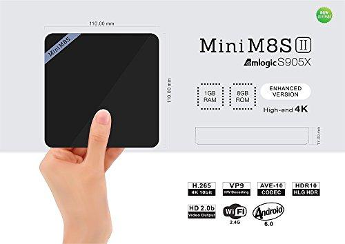 Zenoplige Android TV Box Amlogic S905X Mini M8S II 1/8G Android 6.0 Quad Core Cortex A53 4K HD 1080p Kodi HEVC H.265 2.4G wifi Mini PC Lettore Multimediale Smart TV BOX