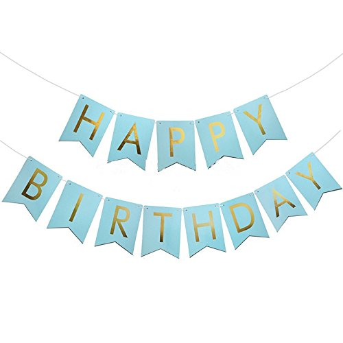 elfun tm gold foiled happy birthday banner blue kids boy birthday