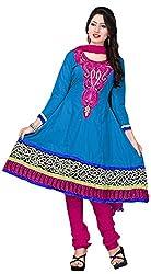 MANMAUJ Women's Cotton Unstitched Dress Material (Blue)