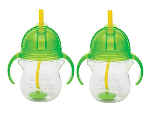 Munchkin Click Lock 7 Ounce Weighted Flexi-Straw Cup, 2 Pack, Green