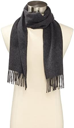 Amicale Men's 100% Cashmere Scarf, Graphite, One Size