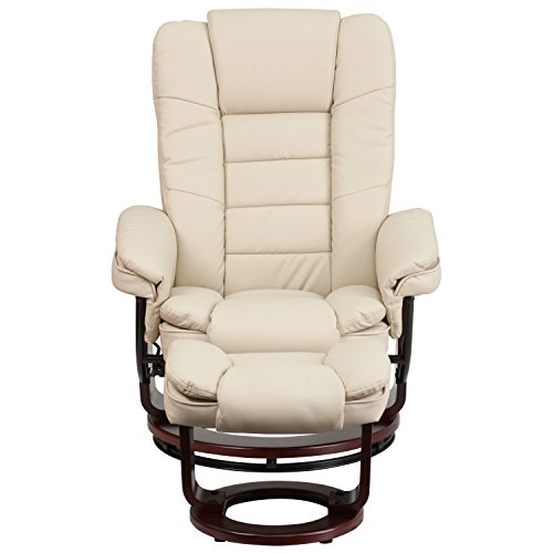Amazing Flash Furniture Bt 7818 Bge Gg Contemporary Beige Leather Recliner And Ottoman With Swiveling Mahogany Wood Base Uwap Interior Chair Design Uwaporg