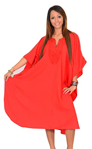SUNROSE Hot Orange Embroidered Neck PLUS SIZE Cover up Kaftan Beach Dress Caftan