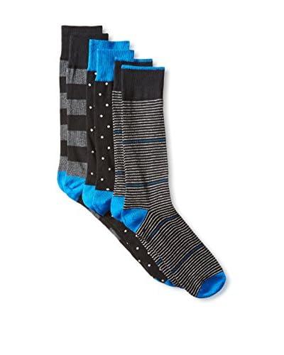 Florsheim Men's I'll Take One Of Each Please Sock 3-Pack, Black, One Size
