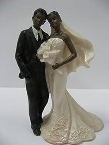 African American 8 Cake Topper Wedding Couple Figurine Kit