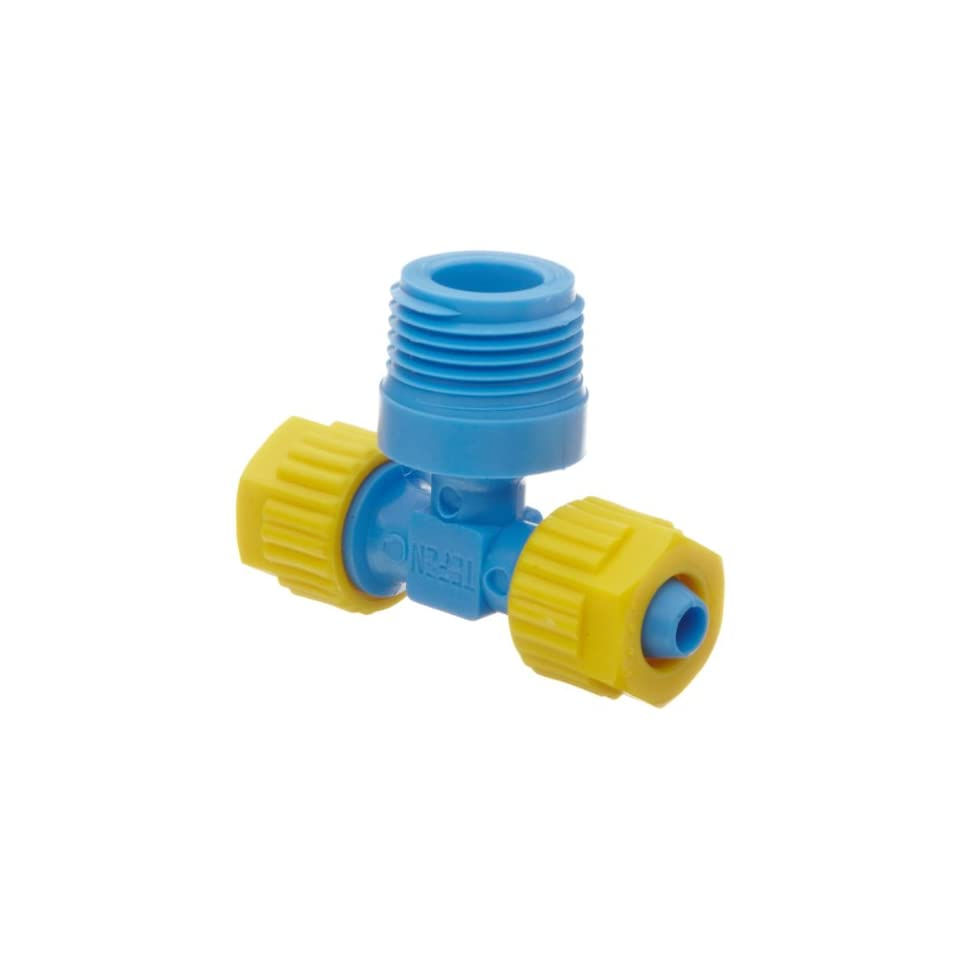 Tefen Fiberglass Polypropylene Compression Tube Fitting, Tee Adapter, Yellow/Blue, 5/16 Tube OD x 1/8 BSPT Male x 5/16 Tube OD (Pack of 5)