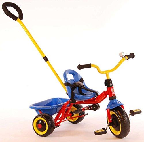 Qualitäts Kinder Dreirad Yipeeh Deluxe - bunt mit Sicherheitsgurt, Schiebestange, Kippmulde