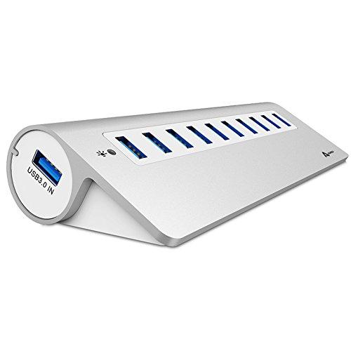 AUKEY USB 3.0 Hub 10 Ports Aluminum Datenhub mit Netzteil für Windows XP Vista 7 8 Linux und Mac