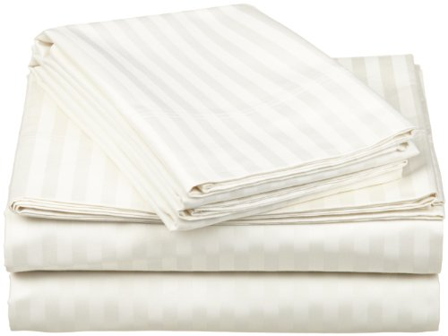 Egyptian Cotton 650 Thread Count Oversized California King Sheet Set Stripe, Ivory front-948993
