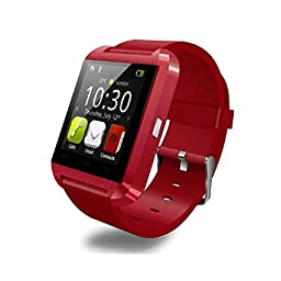 Soyan® 2015 New U Watch Bluetooth SmartWatch Wrist Watch Phone Touch Screen Mate For Android Phones(Full functions) (Red)