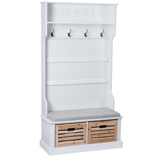 cottage style wardrobe coat hanger and shoe storage cabinet with shelf bench ebay. Black Bedroom Furniture Sets. Home Design Ideas