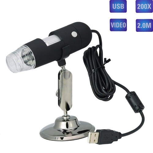 Siam Circus 2Mp 8-Led Usb Digital Video Microscope 20X-200X Measurement/Calibration