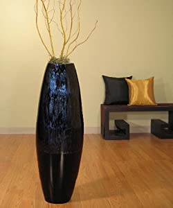 ... Large Lacquer Cylinder Floor Vase & Branches - Dark Blue Swirl & ...