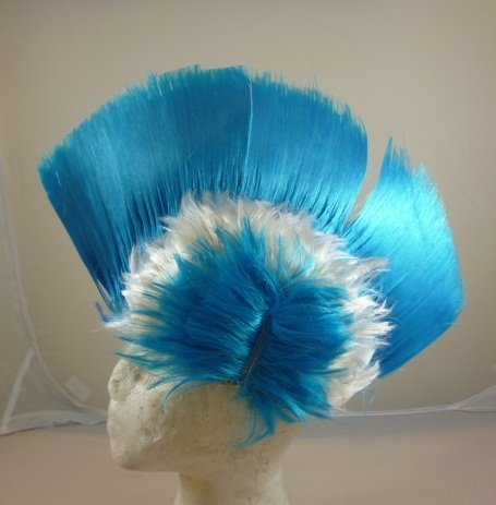Kandy Mohawk Wig For Fancy Dress - Blue And White - One Size (hw122)