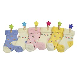 YULI Unisex-Baby Baby Boys Girls Crazy Cute Flowers Pink Yellow White Particles Crew Socks,6 Piece 3-12 Months