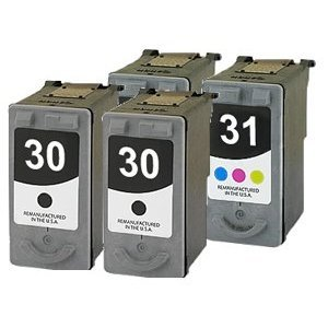 2 PG30 PG-30 / 2 CL31 CL-31 Remanufactured CANON 2 Black and 2 Color Printer Ink Cartridge for Canon Printers, 4-Pack