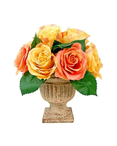 Creative Displays Colored Roses In Stone Urn, Salmon/Gold