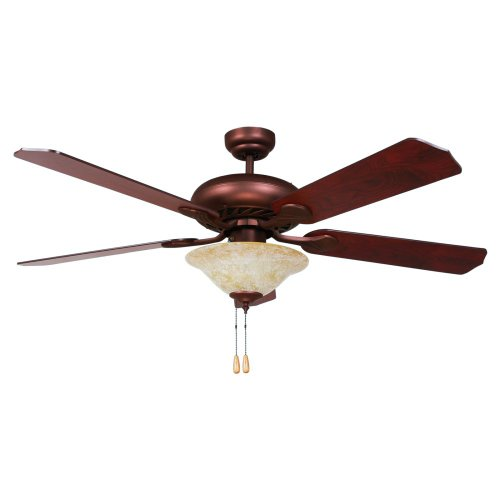Yosemite Home Decor Whitney-Orb-1 52-Inch Ceiling Fan With Light Kit And Elm/Cherry Blades, Oil Rubbed Bronze
