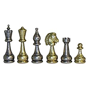 """World Wise Staunton Metal Chess Pieces with 4 Inch King, Metal, 4"""""""